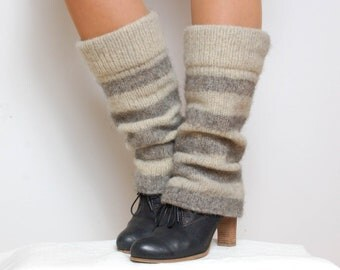Boiled wool striped leg warmers - Gray knit leg warmers - felted 100% organic wool socks - boot toppers - boot socks accessories boot cuffs
