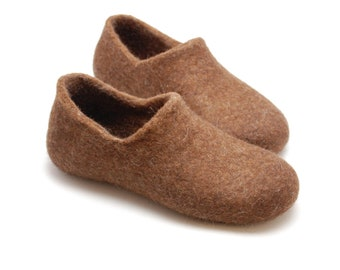 Felted wool slippers just brown