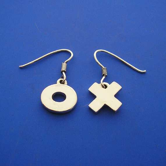 Silver X O Hug and Kiss Earrings , Hand Made Solid Silver