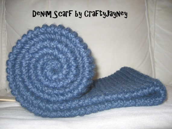 "Blue ""Denim"" Hand Knit Scarf: Extra-Long and Wide with Warm and Cozy Lamb Wool-Acrylic Blend Yarn (Ready to Ship)"