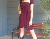 Plum Short Bamboo Cotton Coil Dress//Bridal//Summer Dress//One Size//Pre/Post Maternity//Beautiful for Travel
