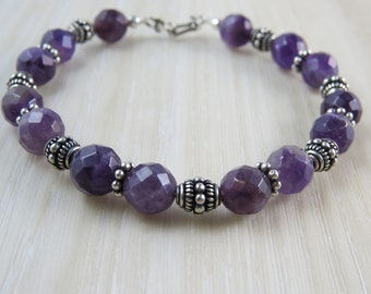 Natural Amethyst and Sterling silver Bali beaded bracelet