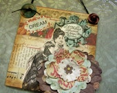 """SALE - OOAK Mixed Media """"DREAM"""" - Collage and Ink - Paper Bag Hang-Up"""