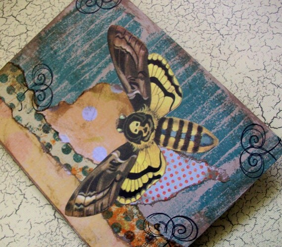 OOAK Art Collage and Ink Card - Death's Head Moth