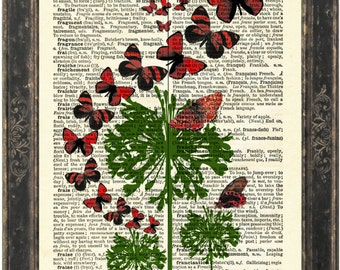 Flight of Red Butterflies Abstract Green Flowers Print on upcycled French Dictionary Vintage Page