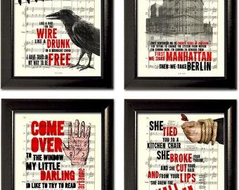 Leonard Cohen Set of 4 Prints on Sheet Music Pages mixed media original book print