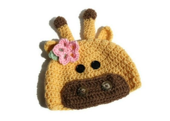Crochet Giraffe Hat for Baby Girl up to Adult, Made to Order
