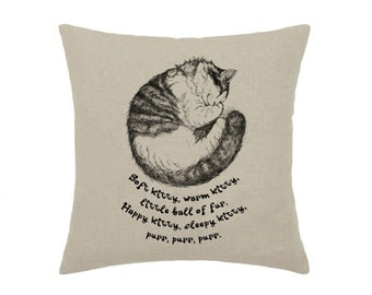 Big Bang Theory Soft Kitty Warm Kitty Geek Sleeping Hand Drawing Art - print on natural 100% linen canvas - 16x16 decorative pillow cover