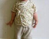 Baby, Toddler Clothes - Baby Kimono with Japanese fabric, Panda bear & flower print / newborn-24 months