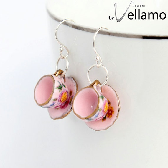 Delicate sterling silver with pink teacup / coffee cup earrings, porcelain, fashion earrings