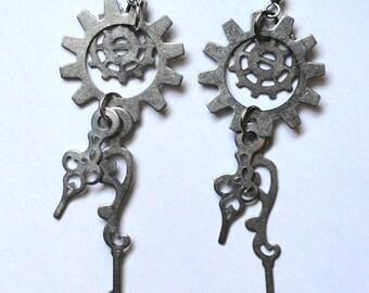Steampunk Filigree Clock Hand Earrings - Gear Earrings - Neo Victorian Jewelry - Steampunk Jewelry - Gothic Jewelry