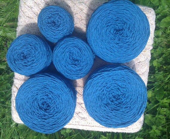 Peacock Blue Heavy Worsted Weight Reclaimed Cotton Blend Yarn -  253 yards