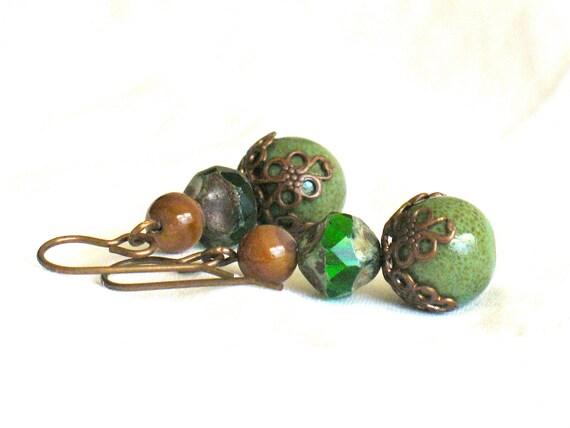 Rustic Green Earrings, brown, beads, dangle, by nancelpancel on etsy
