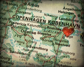 8x10 MAP of COPENHAGEN Denmark with a Heart Shape with a Grunge Vintage Border - 8x10 Photograph