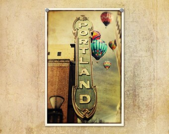 Portland Oregon | Arlene Schnitzel Sign | Hot Air Balloons | Theater Marquis | Iconic Portland Oregon | Whimsical Photograph