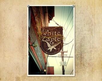 Portland Oregon Photo McMenamins White Eagle Saloon Sign--Fine Art Lomography 8x12