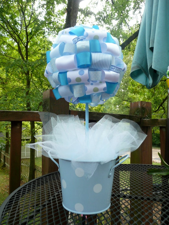 It's a Boy Baby Blue and White Ribbon Centerpiece Topiary with Blue and White Polka Dot Pail/Baby Shower Decoration/Gift