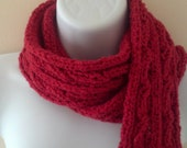 Hand Knit Red Cable Scarf
