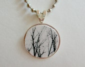 Tree Necklace Original Photography Art Pendant Necklace With Silver Ball Chain Black And White