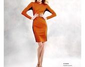 Orange stripe heavy thick wool jersey color block dress