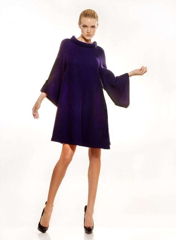 Purple wool-viscose blend heavy jersey sweater A-line dress