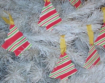 Striped Christmas Tree Shaped Ornaments- Set of 6 Spring Sale 25%OFF Coupon Code SPRING25