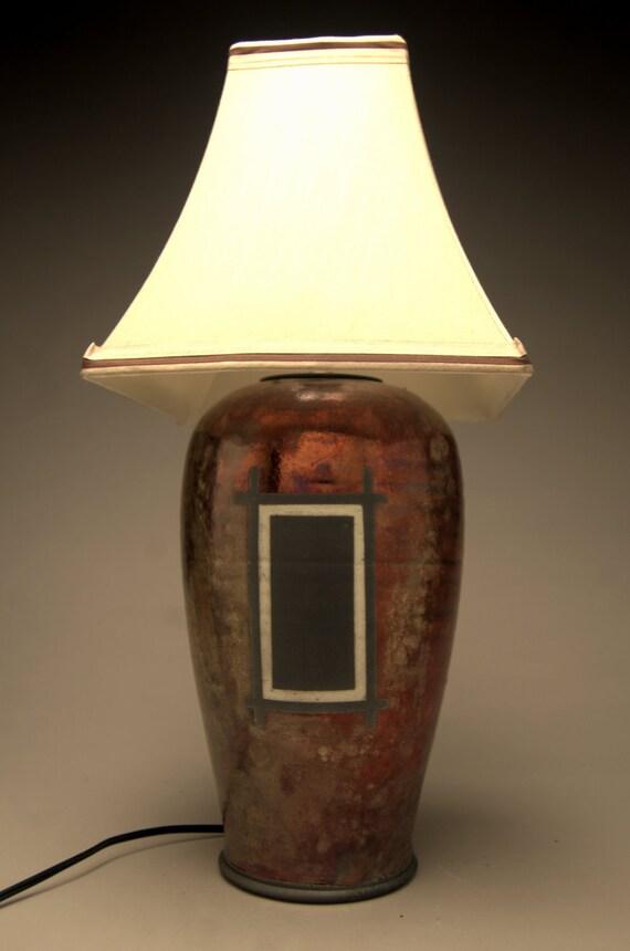 Handmade Ceramic Lamps : Raku lamp copper handmade ceramic table