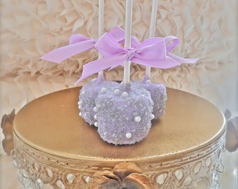 Edible Wedding Favors Silver and purple Chocolate Dipped marshmallows Frost The Cake