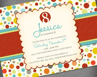 Vintage Colorful Dots Customized Printable Invitation