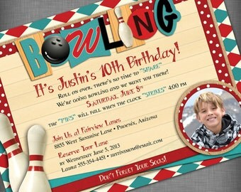 Photo Bowling Party Customized Printable Invitation
