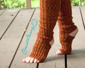 Yoga socks / dance socks / leg warmers / boot socks Orange, very long, knitted comfortable warm Accessories Women europeanstreetteam legwear