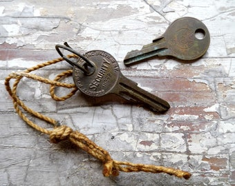 Tiny Keys, 2 Antique Keys, Vintage Key Metal for Crafts, Jewelry, Shadow Boxes from All Vintage Man