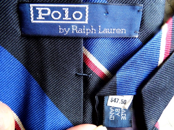 Mens Polo Necktie, Ralph Lauren Silk Tie, Made by Hand Blue, Red, Black Stripe, Retro Mad Men Appeal from All Vintage Man
