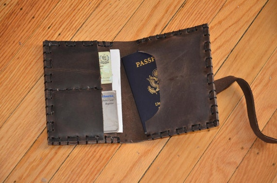 Handmade Leather Passport Case, Unisex Leather Wallet, Travel Case