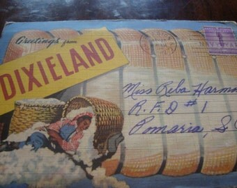 linen Dixieland postcard set