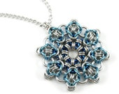 Ice Blue Snowflake Chainmail Necklace - Winter Christmas Snow Star Chainmaille Metal Crochet Pendant for Women