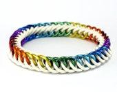White Rainbow Stretch Bracelet - Orion's Belt Rubber Metal Chainmail Bracelet for Men Women