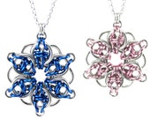 Celtic Star Chainmail Necklace Celtic Flower Chainmaille Metal Crochet Pendant for Women