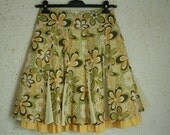 Vintage Skirt Summer Women Green Yellow and White Flowers Multicolor