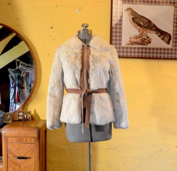 RESERVED  Snow White Rabbit Fur 1970s Hippie Suede Tie Jacket - S, M