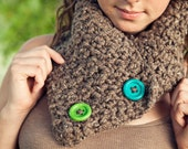 Totally Textured Barley Scarf with black and cream flecks and cute button accents Super Soft too