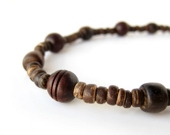 Mens wood necklace for hiking.  Rosewood.