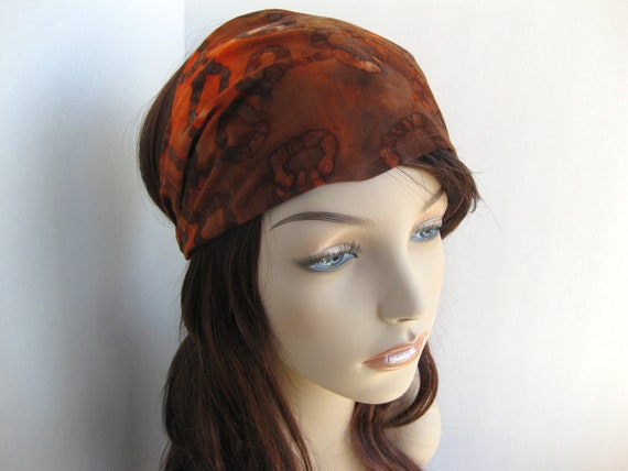 Batik Fabric Headband Gypsy Headwrap Women's Fall Harvest Bandana Brown Orange Abstract Circles Festival Wear Hair Accessory