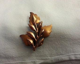 Signed Vintage Renoir Copper Leaf Pin