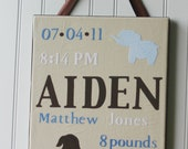 Nursery Wall Art, Nursery Wall Decor, Birth Announcement Fabric Covered Wall Hanging, Personalized, 11x14, Custom Orders Welcome