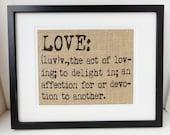LOVE Burlap Definition Art, Sign