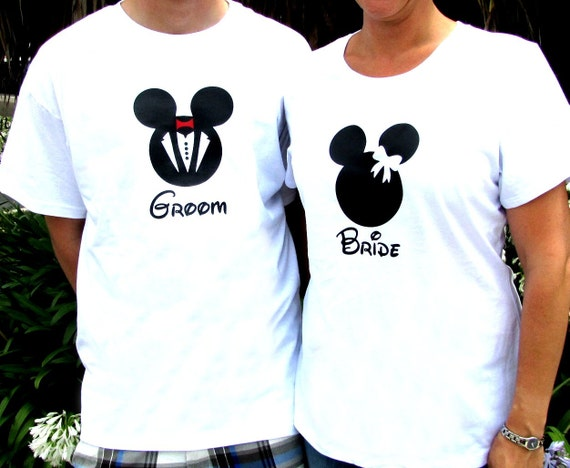 Minnie Mouse Inspired Bride T-Shirt and Mickey Mouse Inspired Groom T