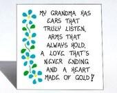 Grandma Magnet - Grandmother quote, Nana, Grammy, Oma, Bubbe,Granny, loving saying, blue flower design