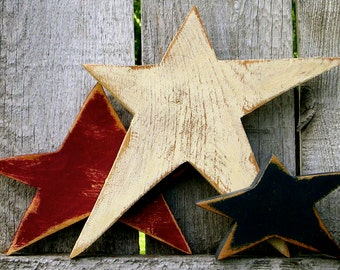 Americana Patriotic Wood Stars | Wooden Rustic Stars | Fourth of July Decor | Primitive Farmhouse Wood Stars | Americana Woodcraft | Stars