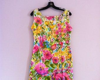 1960's -70's  Cotton Chintz Scooter Dress / Floral Summer Shift Dress